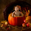 Child in cap inside pumpkin. Basket with autumn harvest