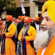 Sikh devotees at 2012 Baisakhi festival in Brescia — Stockfoto