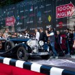 Постер, плакат: Black 1935 Mercedes 500 K at the start of 2012 1000 Miglia