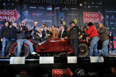 Scalise and Claramunt win the 2012 edition of 1000 Miglia vintage car race they will win — Stock Photo