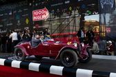 Scalise and Claramunt start the 2012 edition of 1000 Miglia vintage car race they will win — Stock Photo