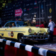 Yellow 1953 Lincoln Capri at the start of 2012 1000 Miglia - Stock Photo