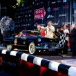 Stock Photo: Black 1956 Ford Thunderbird at start of 2012 1000 Miglia