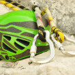Climbing helmet and carabiners — Stock Photo #11872845