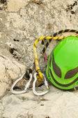 Detail of climbing helmet and carabiners — Stock Photo