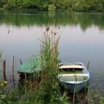 Boats on the river Adda — Stock Photo