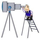 Businessman looks in telescope. — Stock Photo