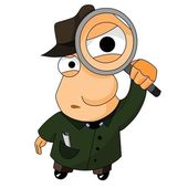 Detective with magnifying glass — Stock Photo