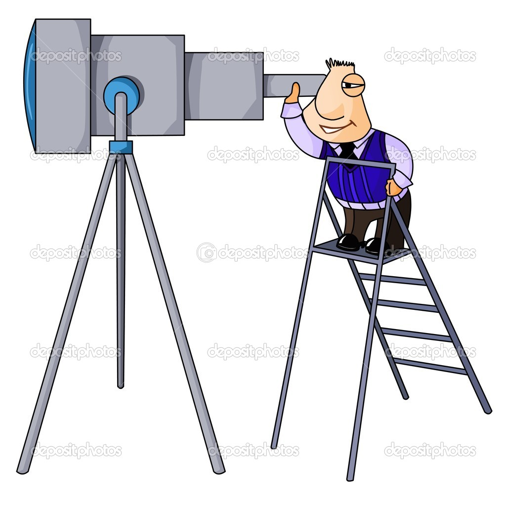 Businessman climbed the ladder and looks in telescope. — Stock Photo #11137005