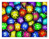 Background of colorful ladybugs — Stock Photo