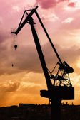 Dockyard Crane silhouette 02 — Stock Photo
