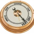 Barometer indicating very dry weather - Stock Photo