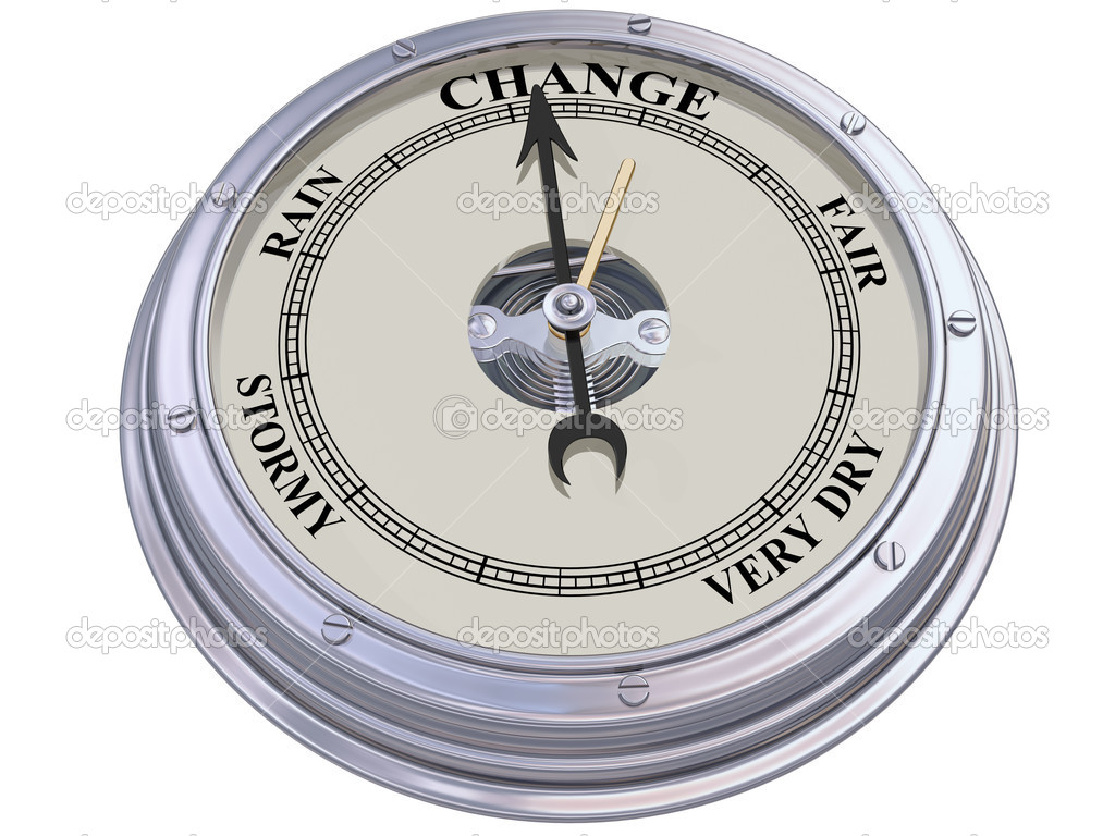 Isolated illustration of a barometer indicating changing conditions — Stock Photo #11386281