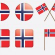 Badges with Norwegian flag - Stock Vector