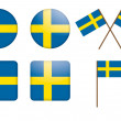 Badges with Sweden flag - Stock Vector