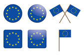 Badges with European Union flag — Stock Vector