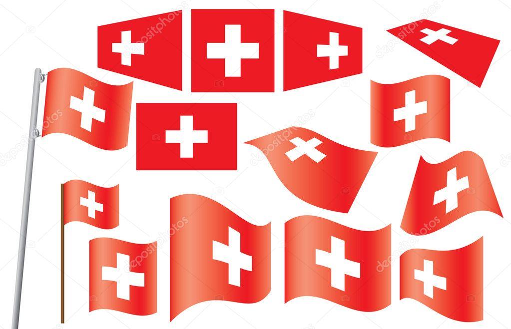 瑞士国旗 — 图库矢量图像08