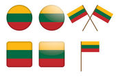 Badges with flag of Lithuania — Stock Vector