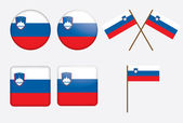 Badges with flag of Slovenia — Stock Vector