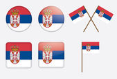 Badges with flag of Serbia — Stock Vector