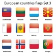European countries flags set 3 — Stock Vector
