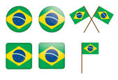 Badges with flag of Brazil — Stock Vector