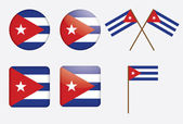 Badges with flag of Cuba — Stock Vector