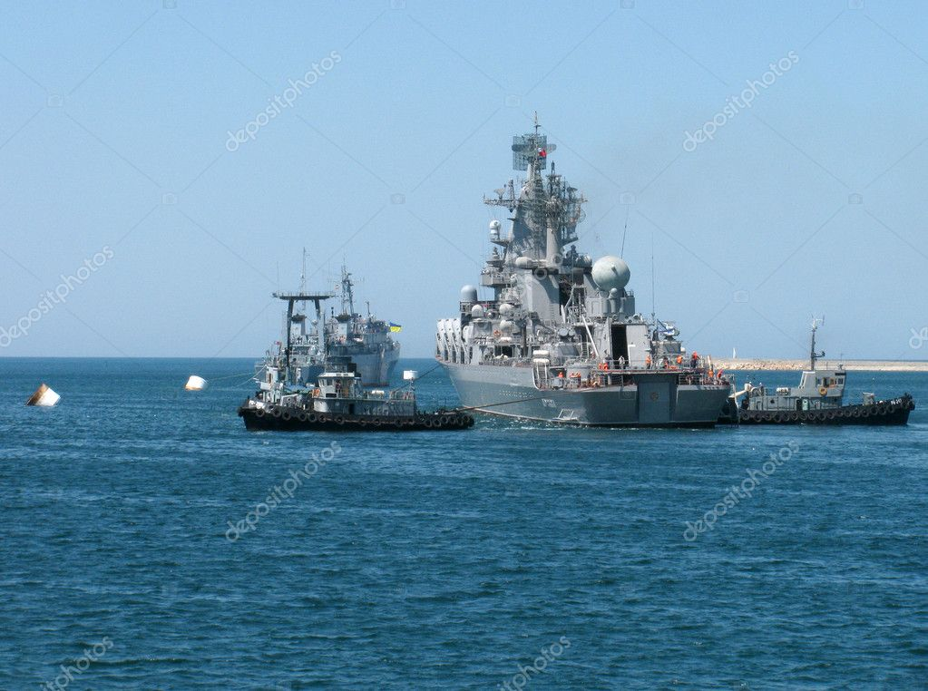 Sevastopol, Ukraine - July 29, 2012 - Guided Missile Cruiser Moskva at Ukrainian Fleet Day and Day of Russian Navy                                 Stock Photo #11999278