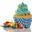 Cupcake in blue and green for birthday — Stockfoto