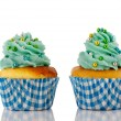 Blue and green cupcakes — Stockfoto