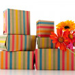 Colorful wrapped presents and flowers - Foto de Stock