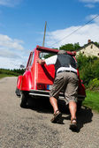 French man with car break down — Stock Photo