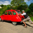 Stock Photo: French mwith car break down