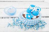 Cupcake for a born baby boy — Stock Photo