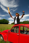 French man with his typical red car — Stock Photo