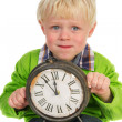 Little child with old clock — Stock Photo