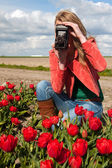 Lale ile alandaki eski fotoğraf makinesi ile Hollanda sarışın kız — Stok fotoğraf