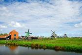 Windmills at the Zaanse schans — Stock Photo