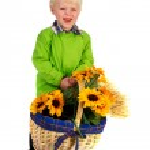 Little boy with flower basket — Stock Photo #11932169