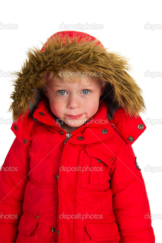Little boy child in red winter coat  Stock Photo #12041763