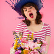 Woman getting flowers — Stock Photo #12189932