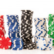 Stacks colorful poker chips — Stock Photo #12416155