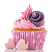 Pink cupcake with buttercream — Stock Photo