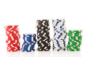 Stacks colorful poker chips — Stock Photo