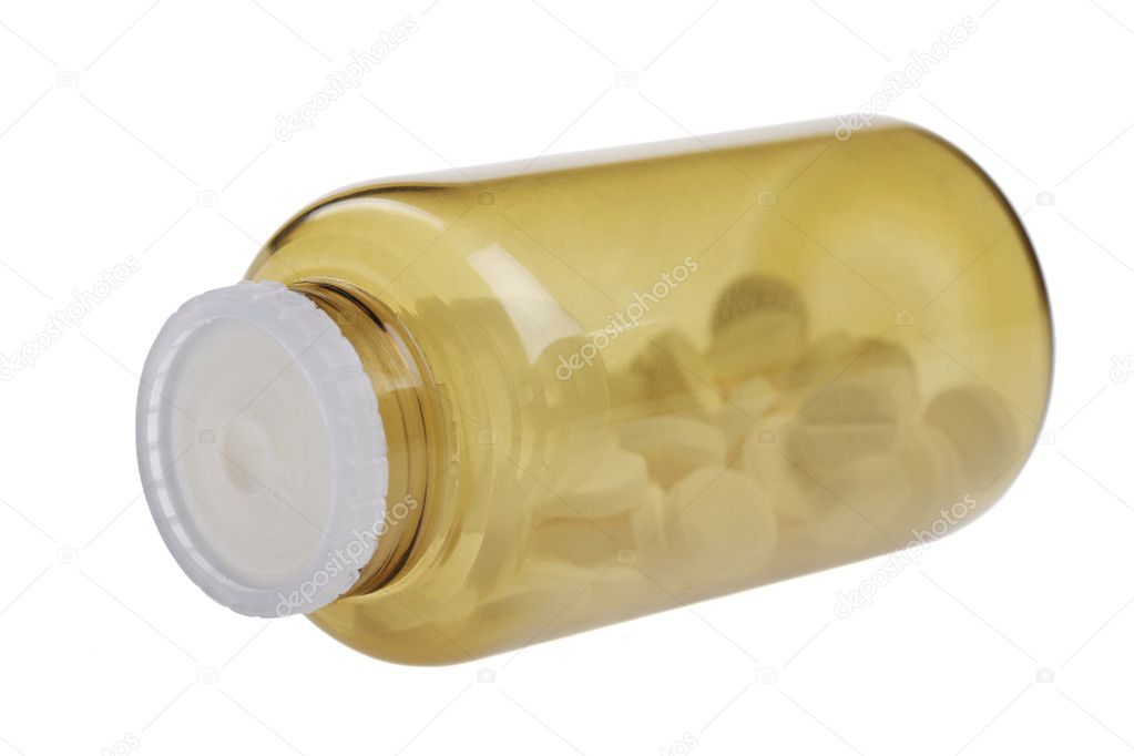 Closed brown jar with pills. isolated on white background — Stock Photo #11098850