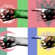 Set of pointing finger in national flag - Stock Photo