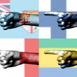 Set of pointing finger in national flags - Stock Photo
