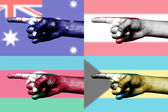 Set of pointing finger in national flag — Stock Photo