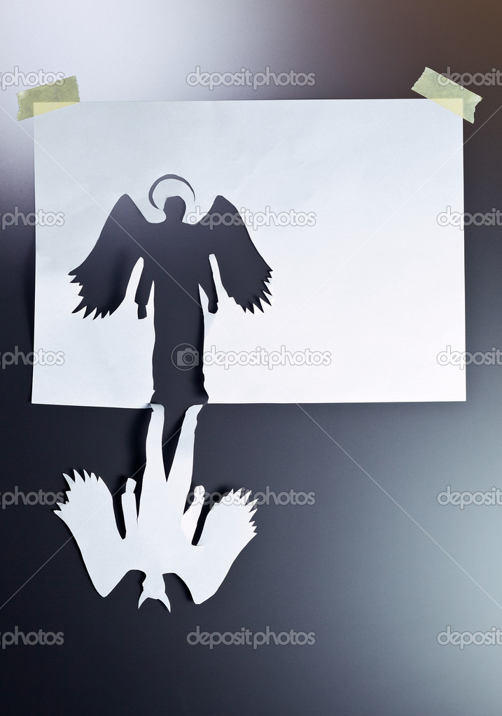 Angel and devil , place your text on a white paper. — Stock Photo #10947400