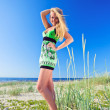 Foto Stock: Womin green sundress.